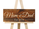engraved mom and date established date wooden sign - Woodbott