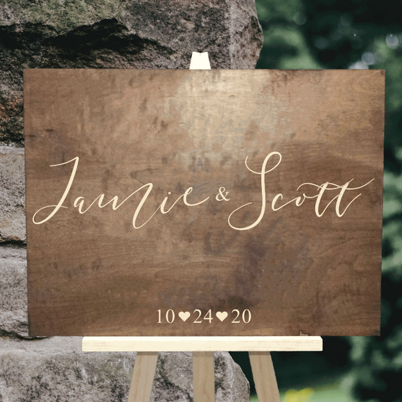 wood couples name wedding decor - Woodbott