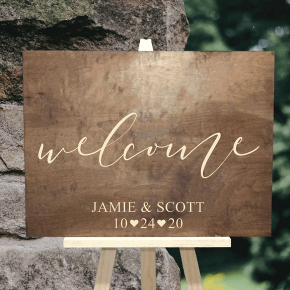 wedding welcome sign with newlywed names and wedding date - Woodbott