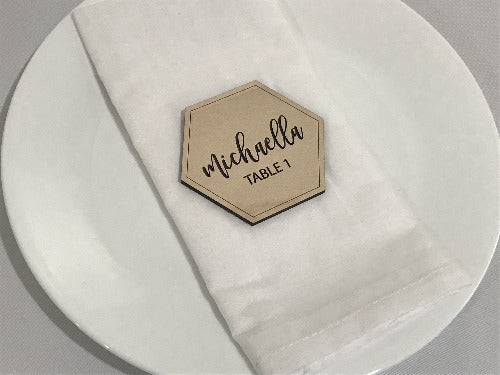 engraved table number place cards - wedding decor - Woodbott