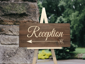 wood reception this way wedding arrow sign - Woodbott