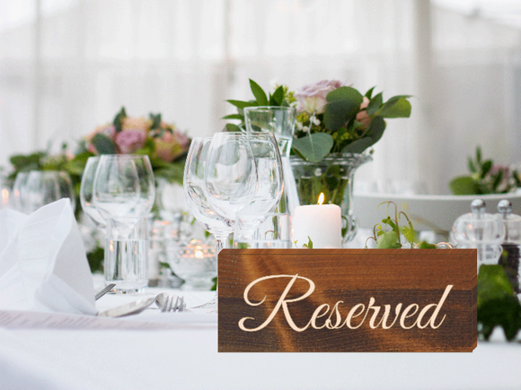 wedding reserved signs for wedding reception tables - Woodbott