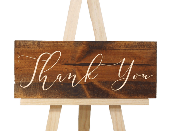 calligraphy engraved wood thank you sign - wedding thank you - Woodbott