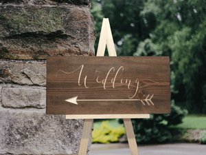 engraved rustic wood wedding arrow sign - Woodbott