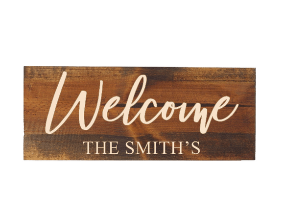 personalized last name welcome sign - Woodbott