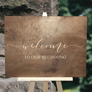welcome to our beginning sign - rustic wood wedding decor - Woodbott