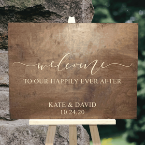 welcome to our happily ever after sign - Woodbott