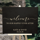 black ebony welcome to our happily every after sign - Wedding decor - Woodbott