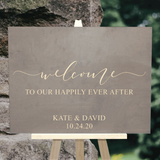 gray wash welcome to our happily ever after sign - wedding decor - Woodbott