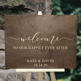 rustic wood wedding sign - welcome to our happily ever after sign with personalized names and wedding date - Woodbott