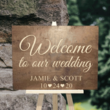 rustic wooden welcome to our wedding sign - Woodbott
