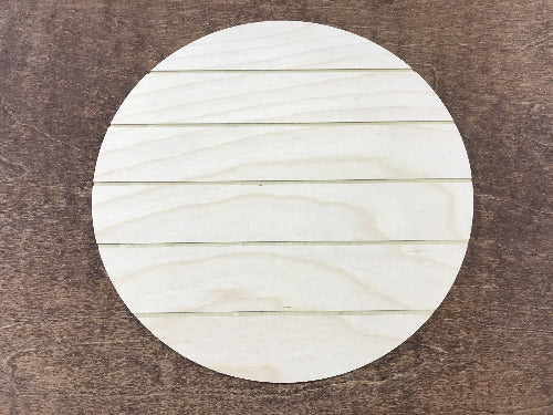 faux shiplap wooden circle for sign making - Glowforge sign supplies - Woodbott