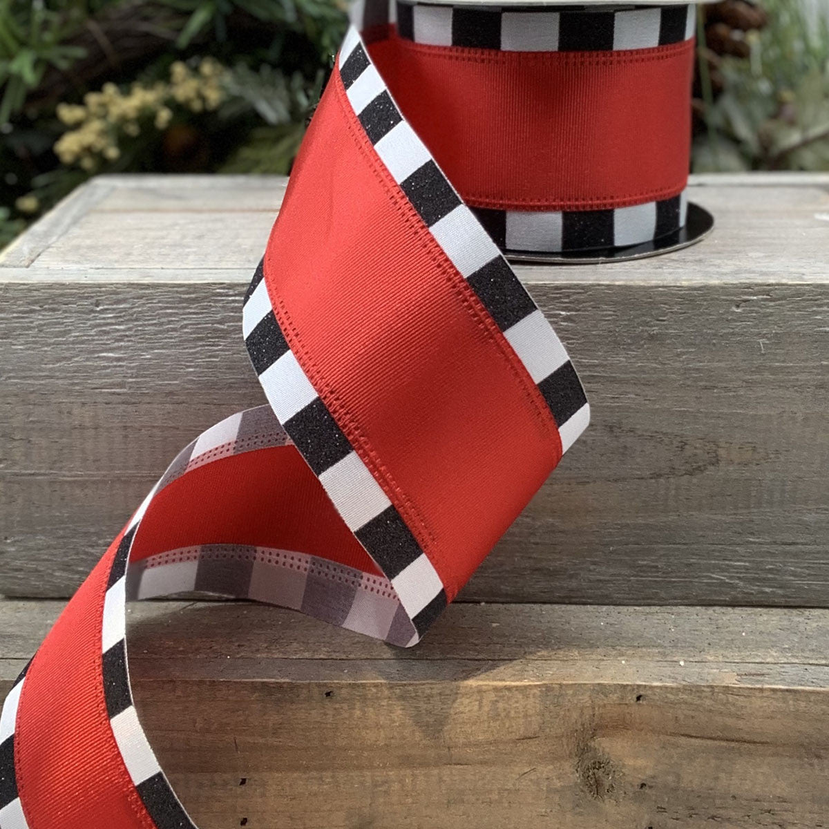 Red with Black/White Edge Ribbon