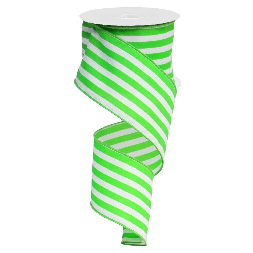 Apple Green / White Striped Ribbon - My Christmas