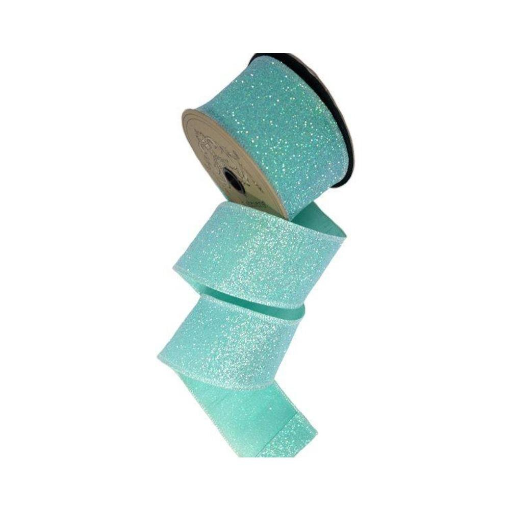 Aqua Glitter Ribbon - My Christmas
