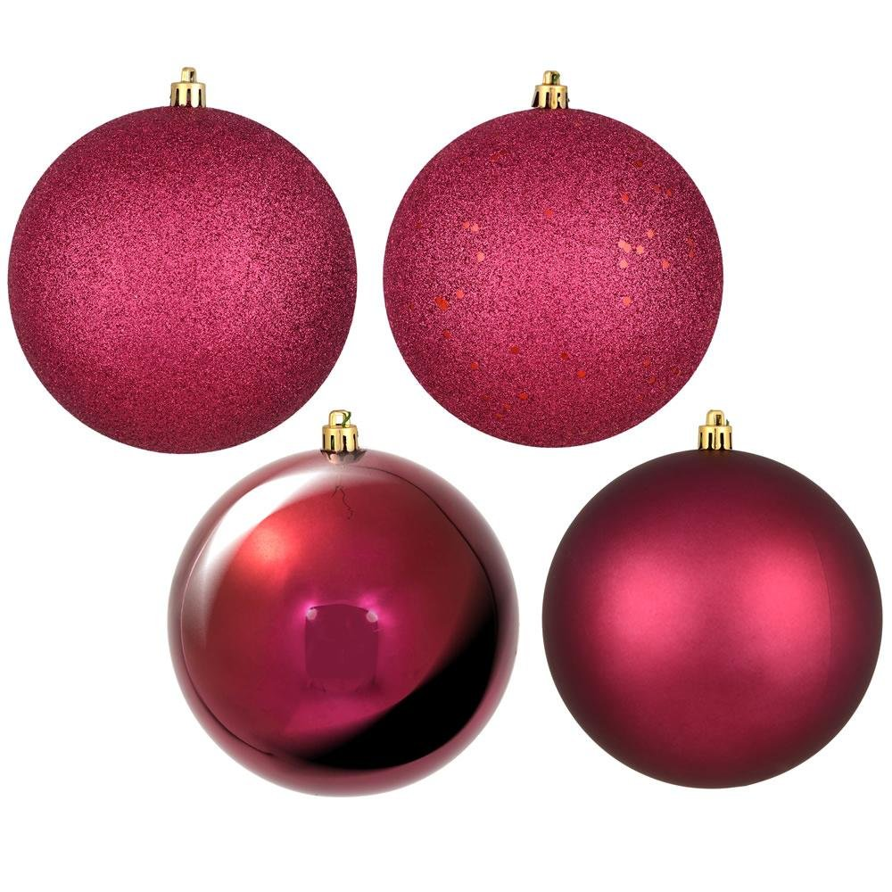 Berry Red, 4 Finish Pack Of 12 Ball - My Christmas