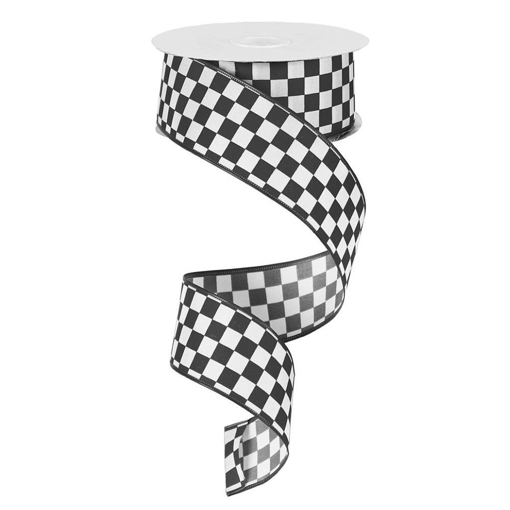 Black And White Check Ribbon - My Christmas