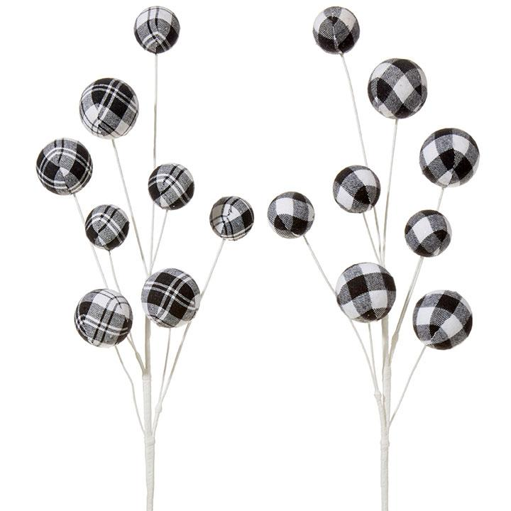 Black and White Checked Ball Pick - My Christmas