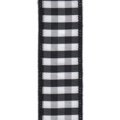 Black and White Checked Taffeta Ribbon - My Christmas