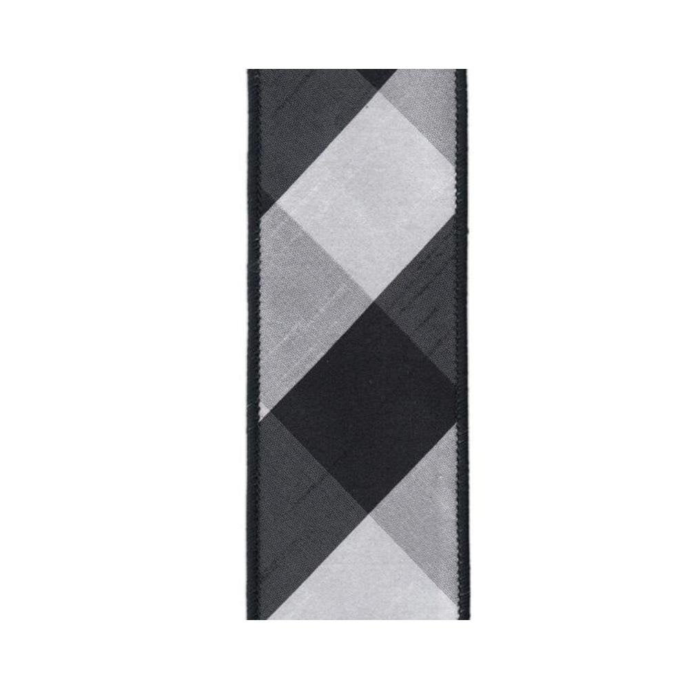 Black and White Diagonal Checked Ribbon - My Christmas