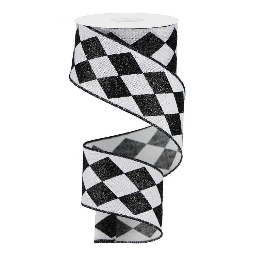 Black And White Harelquin Check Ribbon - My Christmas