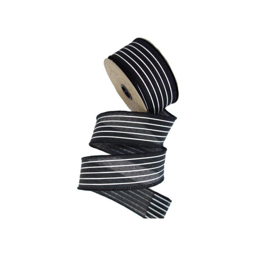 Black and White Mini Striped Ribbon - My Christmas