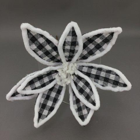 Black and White Plaid Poinsettia - My Christmas