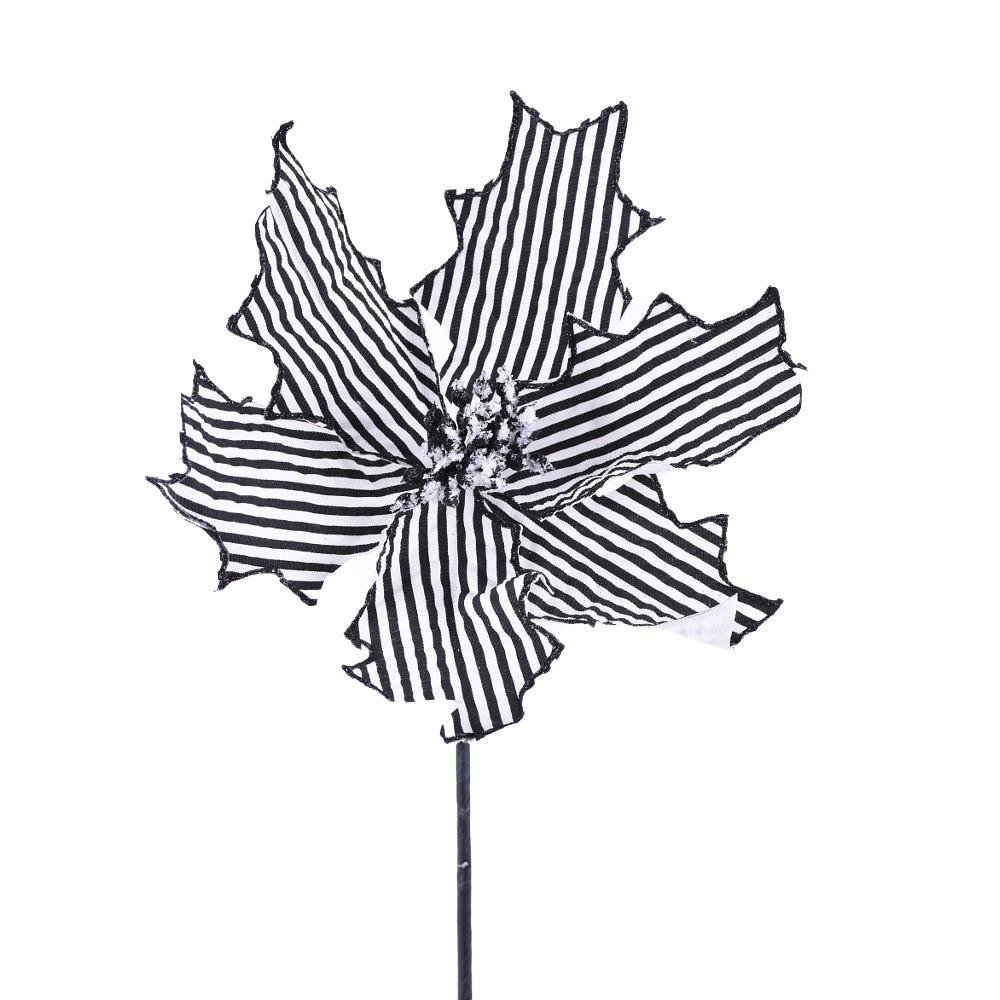 Black And White Stripe Poinsettia Pick - My Christmas