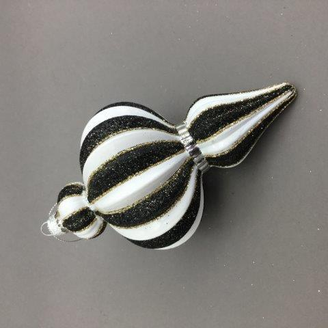 Black and White Striped Finial - My Christmas