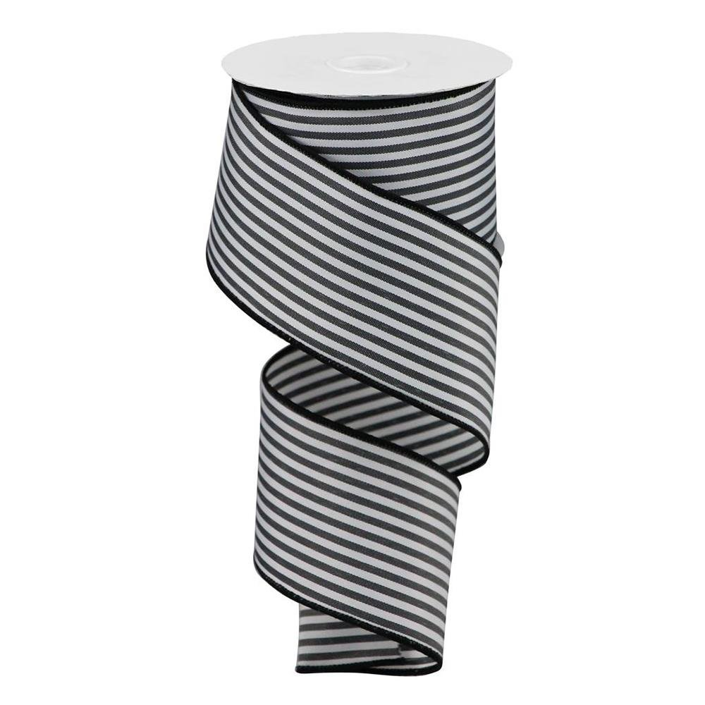 Black And White Vertical Stripe Ribbon - My Christmas