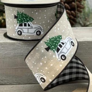 Black / Natural Car & Tree Linen Ribbon - My Christmas