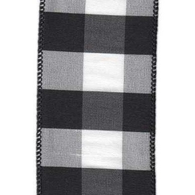 Black / White Dupion Check Ribbon - My Christmas
