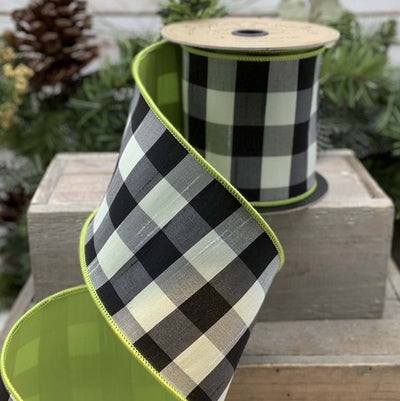 Black & White Lime Edged Checked Ribbon - My Christmas
