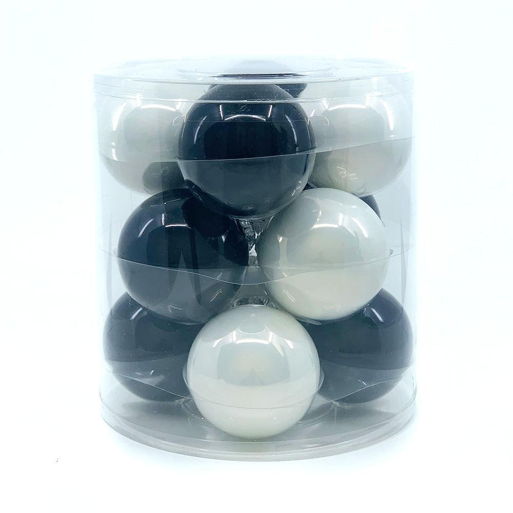 Black/White Glass Bauble Pack, Various Sizes - My Christmas