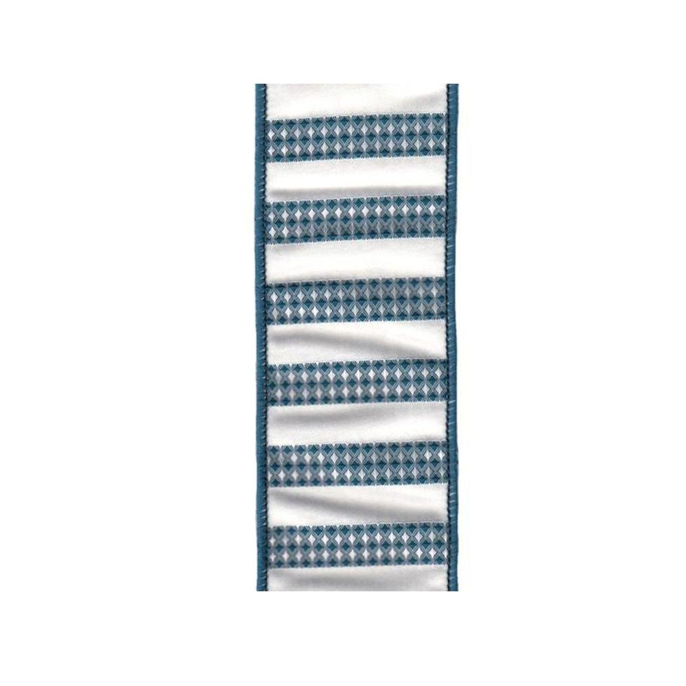 Blue and White Cardiff Stripe Ribbon - My Christmas