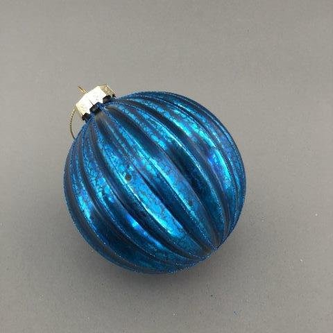 Blue Creased Ball - My Christmas