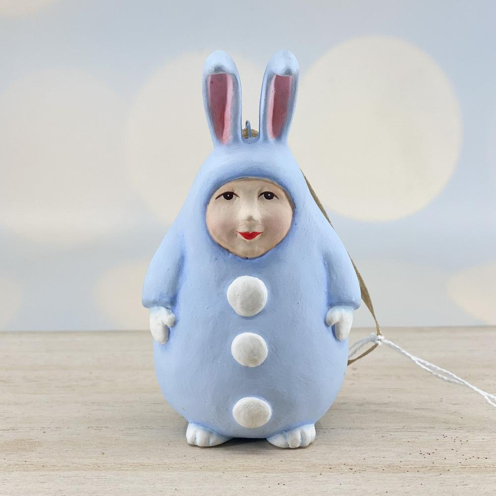 Blue Egg Bunny Ornament - My Christmas