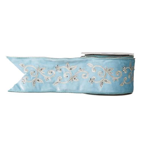 Blue Embroidered Ribbon - My Christmas