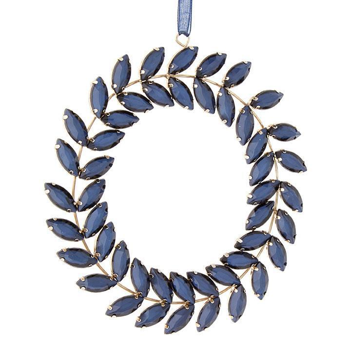 Blue Jewelled Wreath Ornament - My Christmas