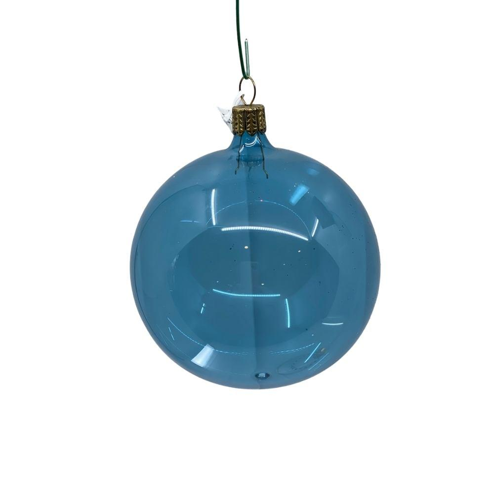 Blue Shiny Clear bauble, 9cm. - My Christmas
