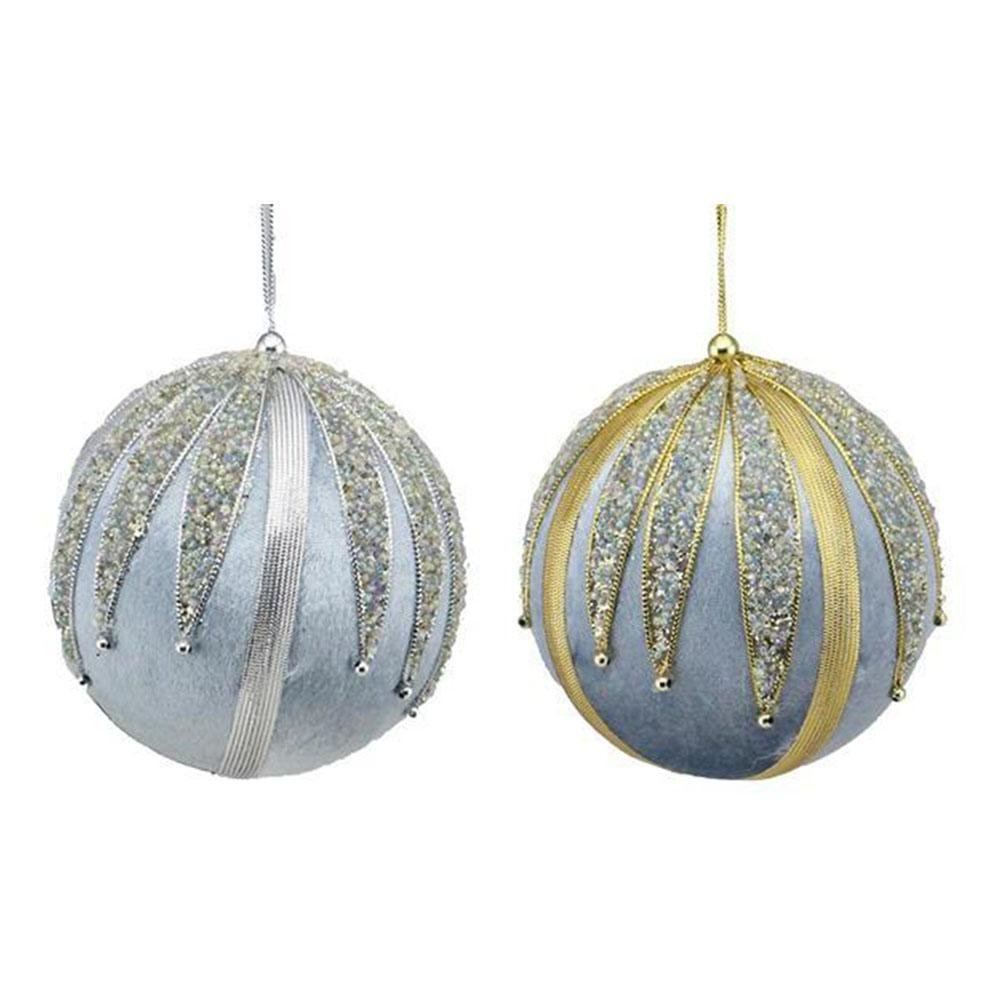 Blue Velvet Beaded Baubles - My Christmas