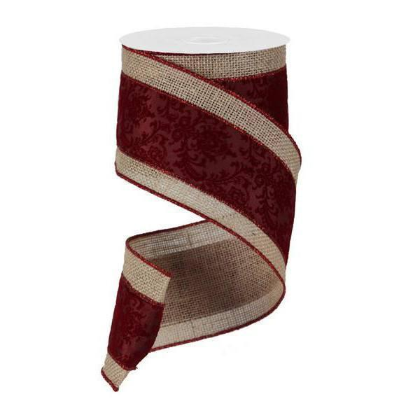 Burgundy Burlap Ribbon - My Christmas