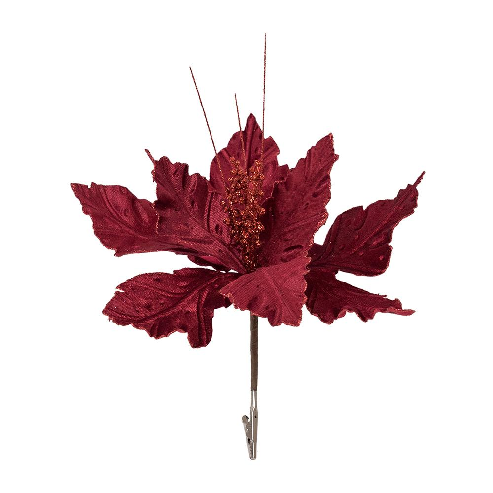 Burgundy Clip On Poinsettia Pick - My Christmas