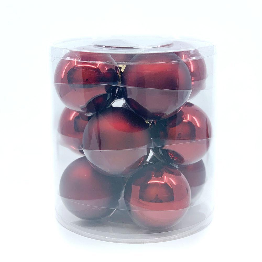 Burgundy Glass Bauble Pack, Various Sizes - My Christmas