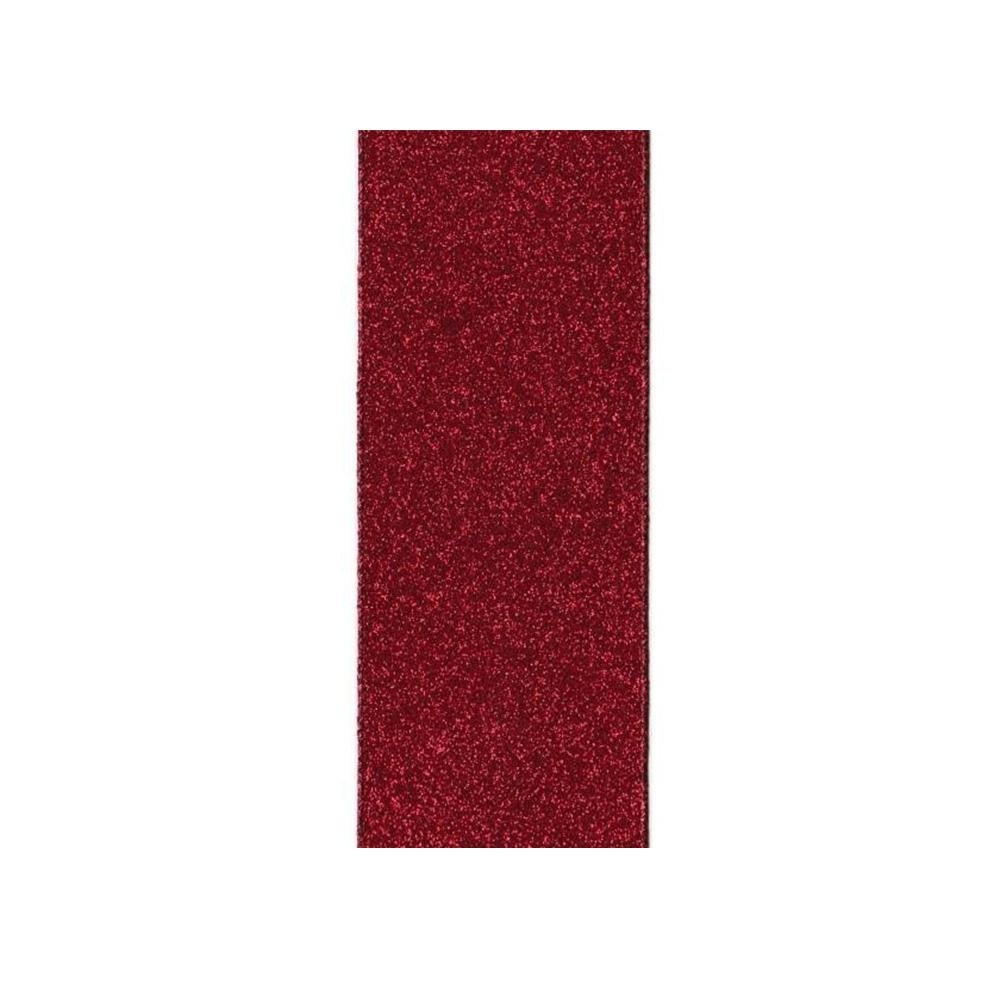 Burgundy Glitter Ribbon - My Christmas