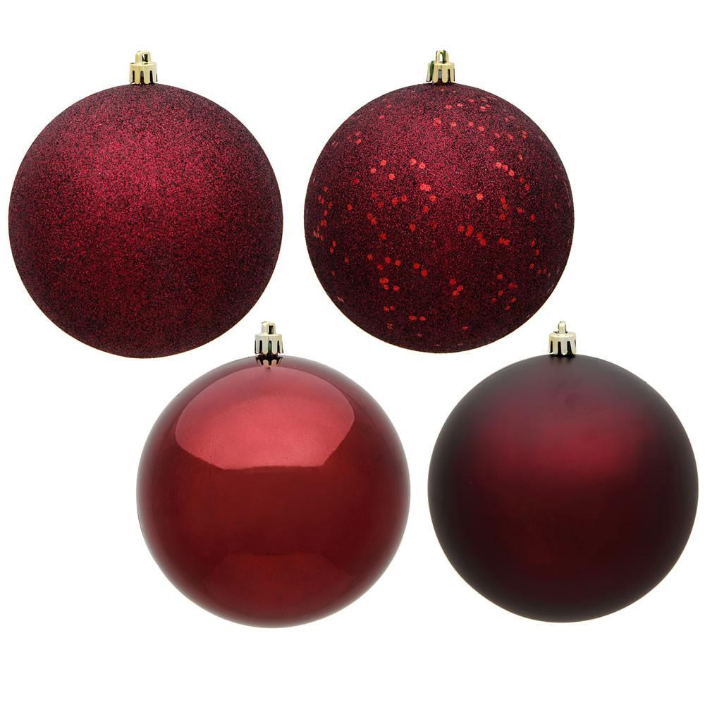 Burgundy Shatterproof Baubles, 3 Sizes - My Christmas