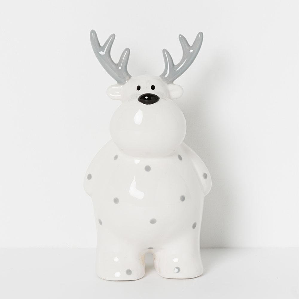 Ceramic White Reindeer Money Box - My Christmas