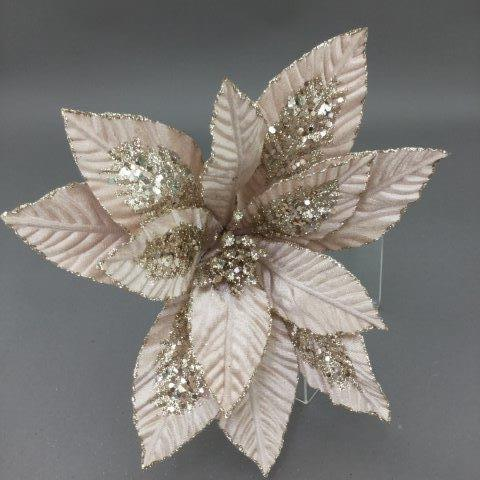 Champagne Glitter Poinsettia Pick - My Christmas