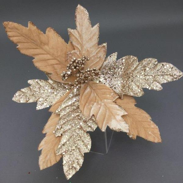Champagne Gold Poinsettia Pick - My Christmas