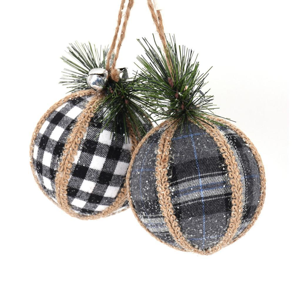 Check Jute Ornament, Assorted - My Christmas